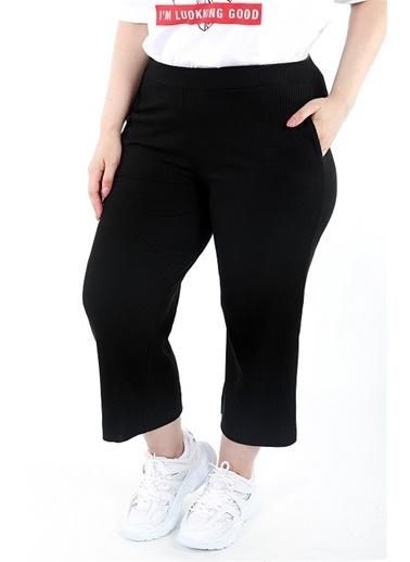Luokk Robby Beli Lastikli Rahat Kesim Yanları Cepli Kadın Pantolon Siyah